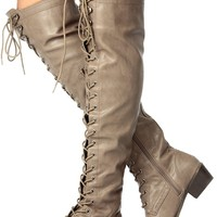 Lace Up Military Over the Knee High Boots Vegan Faux Leather