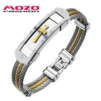 MOZO FASHION Hot Brand Men's Jewelry Punk Bracelet Stainless Steel Classic Gold Silver Cross Popular Bangles for Men Gift MGH782