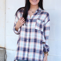 Sunnier Days Side Slit Plaid Blouse {Pink+Navy}