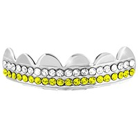 Tooth Grill Top Teeth Grillz Cap 2 Row Blue White Lab Diamonds