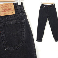 """Vintage 80s 90s Black Levi's 550 Size 5 High Waist Jeans - Women's Relaxed Fit Tapered Leg Jeans - 27"""" Waist"""