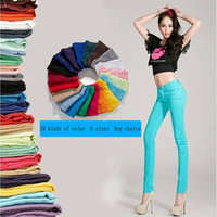 Free shipping 2016 spring and summer multicolour candy color pencil pants jeans female skinny pants 22