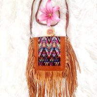 LA LOBA  • Handmade Leather Crossbody Fringe Bag • Boho Hippie Festival Shoulderbag • Guatemalan Fabric Rainbow Purse • Bohemian Leather Bag