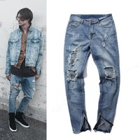 Zippers Slim Ripped Holes Jeans [10368010307]