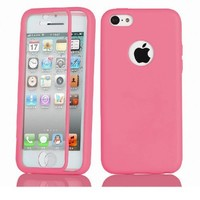 Easygoby Full Scratch Protection Case - Crystal Clear front protector + Slim TPU Back Shell Cover Skin for Apple iphone 5C (2013) ,Hot Pink