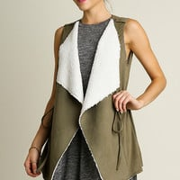 Sherpa Lined Suede Vest