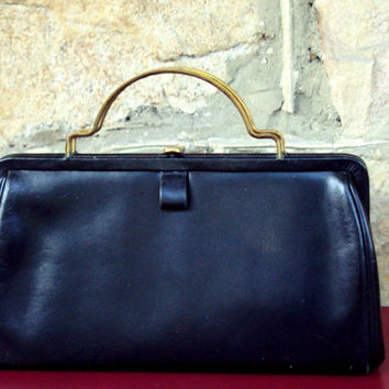 Black Handbag Vintage 60s leather purse Mad Men style doctor bag high fashion elegant gold top handle long purse Betty Draper Jackie Kennedy