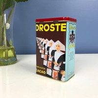 Vintage Droste Cacao Tin Nuns Haarlem Holland Collectible Tins Red Yellow Blue Gold Storage Tin Small Religious Graphic