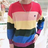 Champion Autumn And Winter New Fashion Embroidery Logo Rainbow Women Men Long Sleeve Top Sweater
