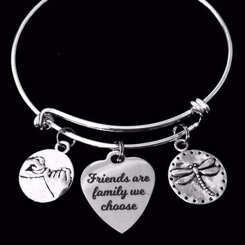 Friends are Family We Choose Silver Expandable Charm Bracelet Adjustable Bangle BFF Gift