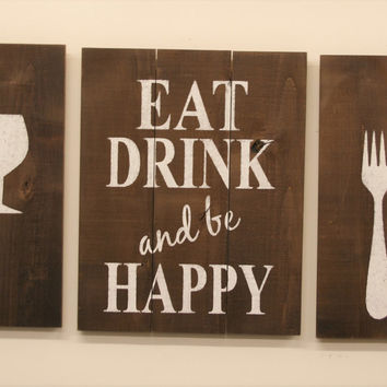 Dining Room Wall Decor Kitchen Wall Decor Wood Dining Room Sign Eat Drink And Be Happy Rustic Dining Room Pallet Sign Fork Knife Spoon