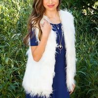 Evelyn Faux Fur Vest - Ivory