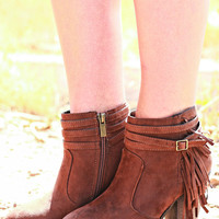 SOUTHWEST TRAVELER FRINGE BOOTIES IN BROWN