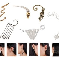 Bundle Monster 6pc Punk Style Ear Wrap Charm Cuff Earring Stud Fashion Accessory for Pierced + Non Pierced - Mixed Lot