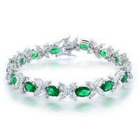 Bling Jewelry Marquise Flower CZ Oval Green Emerald Color Tennis Bracelet 8.5 in: Jewelry: Amazon.com