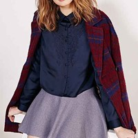 Cooperative Embroidered Collared Button-Down Shirt- Navy