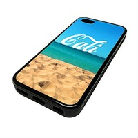 For Apple Iphone 5 or 5s Cute Phone Cases for Girls Cali Sandy Beach Typography Design Cover Skin Black Rubber Silicone Teen Gift Vintage Hipster Fashion Design Art Print Cell Phone Accessories
