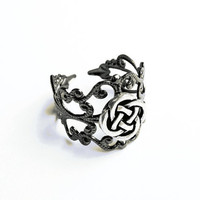 Celtic Knot Ring  - Gunmetal Vintage-Style Filigree Ring with Celtic Quarternary Knot, Adjustable