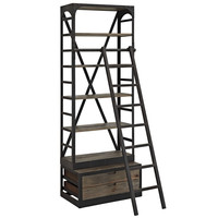 Velocity Industrial Modern Wood Stand / Bookcase in Brown
