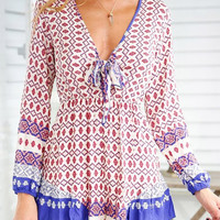 Long Sleeve Printed Bow-knot Neckline Romper