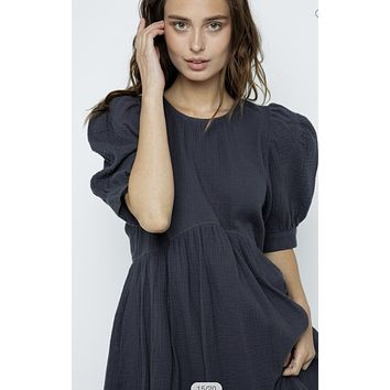 Apparel- Bonnie Bell Sleeve Gauze Dress Charcoal Gray
