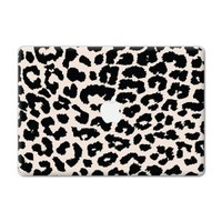 """Black and White Leopard """"Protective Decal Skin"""" for Macbook 13"""" Laptop"""
