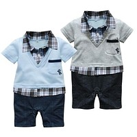 2017Hot selling Baby romper/Boys clothing set baby bodysuits Polo style short-sleeved Romper/ Grey and Blue colors