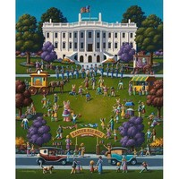 Dowdle Folk Art White House Easter Jigsaw Puzzle - Puzzle Haven