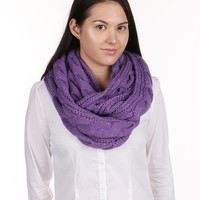 Purple Cable Knit Infinity Scarf
