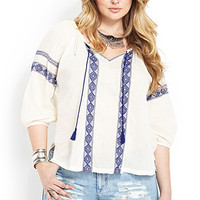 FOREVER 21 PLUS Poetic Embroidered Peasant Top Cream/Royal 1X