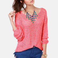 Nothing But Net Neon Coral and Cream Sweater