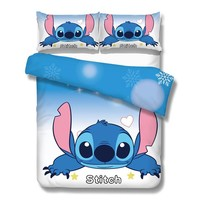disney lilo and stitch bedding set 3 pcs single double twin full queen king size cartoon girls bed cover pillow cases room decor