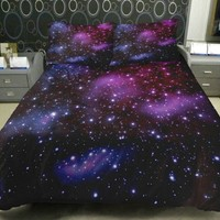 Anlye Galaxy Bedding 1 Galaxy Duvet Cover 1 Galaxy Flat Sheet 2 Pillowcase Satin(not Cotton) Full
