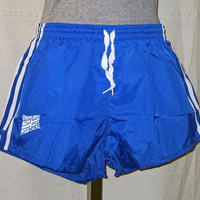 Vintage Deadstock 70s SHINY NYLON SPRINTER Running Women Blue Striped Union Jack Work Out Lined Small Athletic Shorts