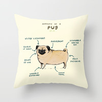 Anatomy of a Pug Throw Pillow by Sophie Corrigan