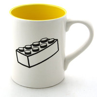 Lego R Brick Mug with yellow interior by LennyMud on Etsy