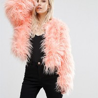 Missguided Petite Faux Fur Jacket at asos.com