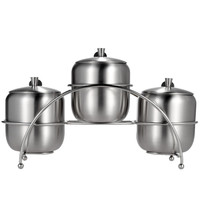 Set of 3 Stainless Steel Seasoning Container Holder