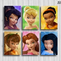 disney fairies poster set of 6 tinkerbell decor disney wall art nursery painting