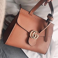 Hipgirls GUCCI Fashion New leather shopping leisure shoulder bag crossbody bag handbag Brown