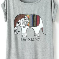 Grey Diamond Elephant Print Short Sleeve T-shirt