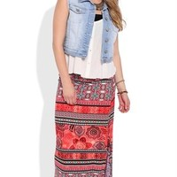 Tribal Print Maxi Skirt with Side Slit
