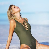 Cupshe Be An Optimist Lace Up One-piece Swimsuit