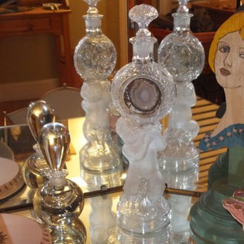 """European Antique Glass Cupid Bottle with Stopper 13.5"""" tall, Beautiful Perfume Bottle"""