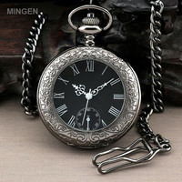 MINGEN - Dress Black Crystal Case Roman numbers Dial Quartz Men Pocket Watch + Chain