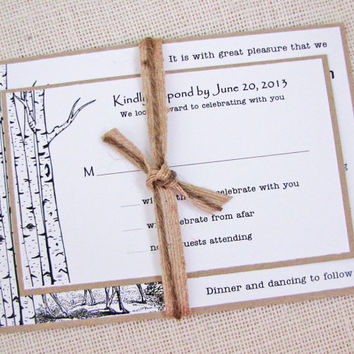 Birch Tree and Deer Country Rustic Wedding Invitation Sample Listing