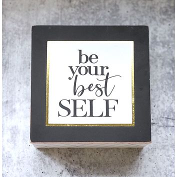 Be Your Best Self Wooden Hinged Box | Jewelry Trinket Storage