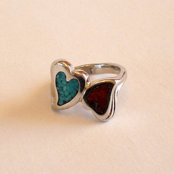 Turquoise Coral Heart Ring, Turquoise Coral Inlay Double Hearts  -Size 4