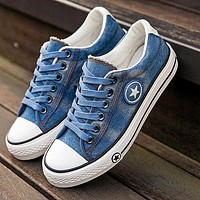 Casual Female Lace Up Denim Summer Sneakers