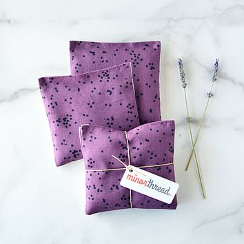 Organic Lavender Sachets in Arroyo Confetti in Plum and Natural Linen Set of 2